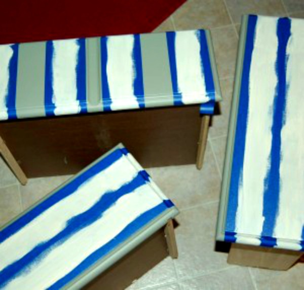 striped nightstand drawer paint