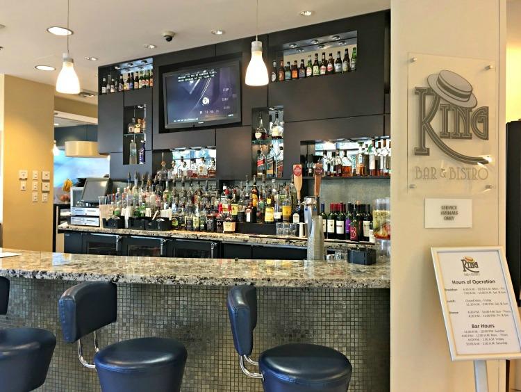 Bar area of King Bar & Bistro in Hotel Indigo Baton Rouge Louisiana