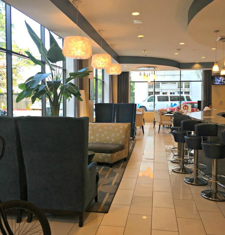 King Bar & Bistro booth area at Hotel Indigo Baton Rouge Louisiana