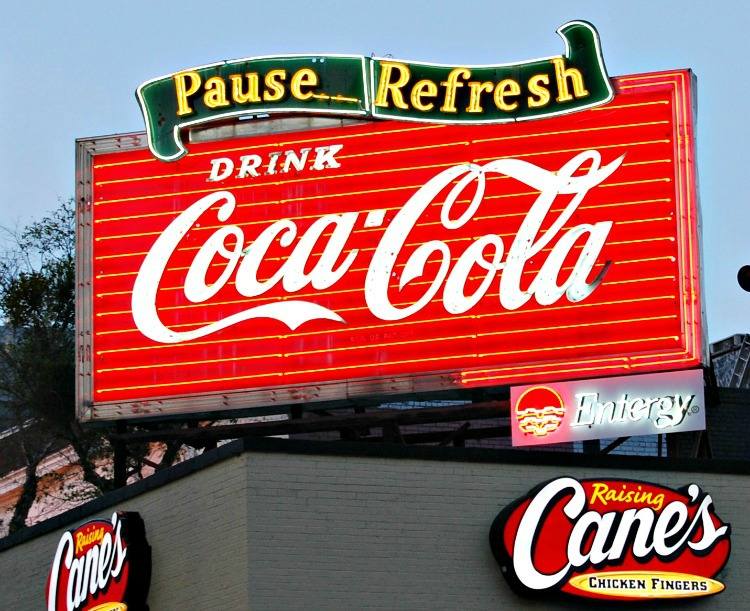 A historic Coke sign in downtown Baton Rouge Louisiana