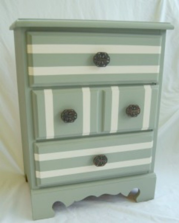 striped nightstand side view