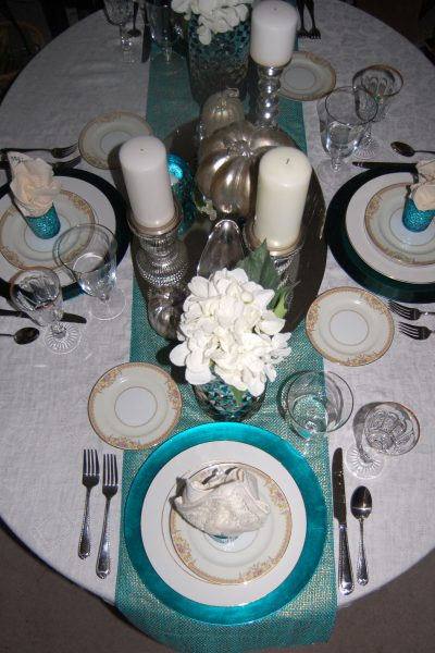 Teal & Turquoise Thanksgiving Table