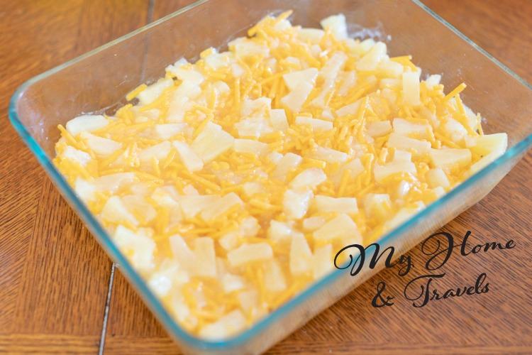 adding to casserole dish