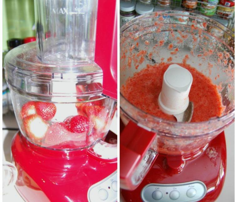 blending up the strawberries