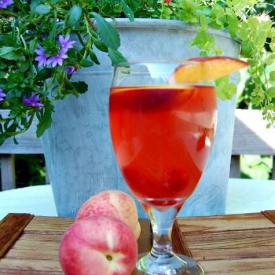 White Peach Sangria with Raspberries and Nectarines