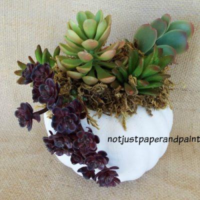 Faux Pumpkin and Succulent Planter