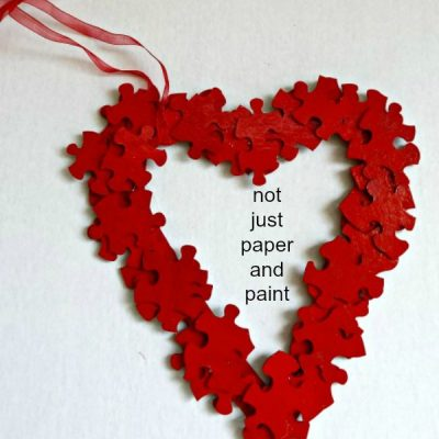 Old Puzzle Pieces Means Crafts for Valentine's Day