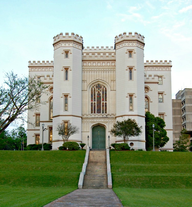 The stately looking building of the old capitol in Baton Rouge Louisiana