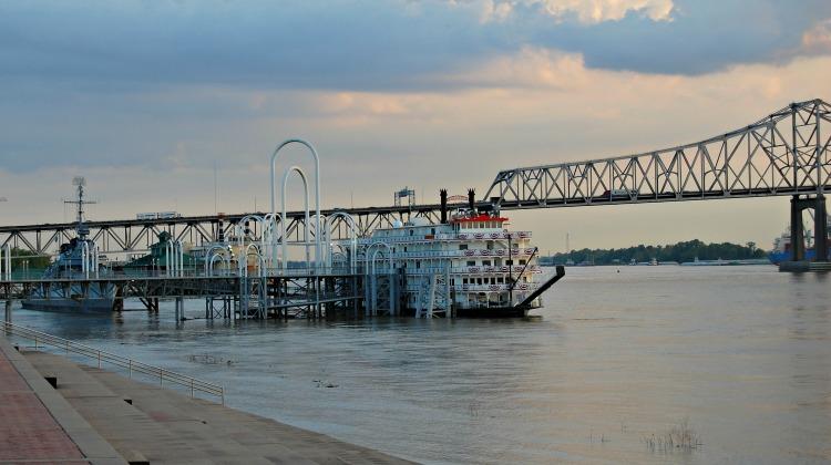 Old paddleboat sitting on Mississippi River. Hotel Indigo Baton Rouge Louisiana