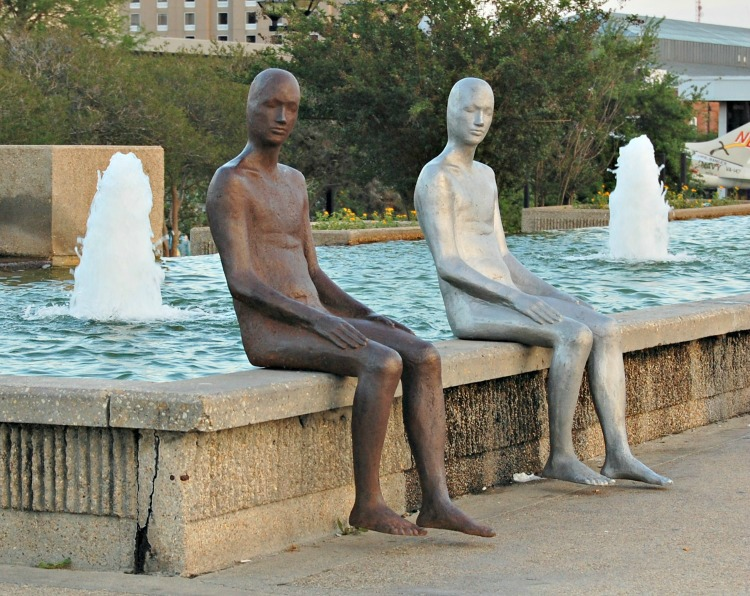 Statues at the fountain. Hotel Indigo Baton Rouge Louisiana