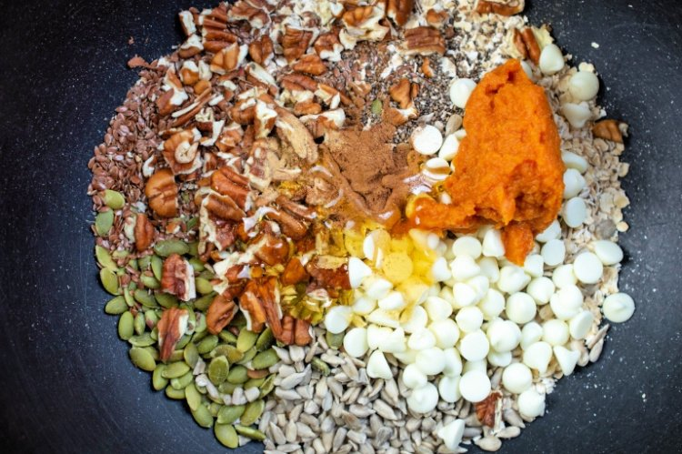 Easy and Delicious Pumpkin Spice Energy Balls my home and travels mixing of ingredients