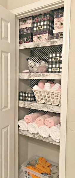 closet shelf with covered shelving - tips for wire shelving hacks
