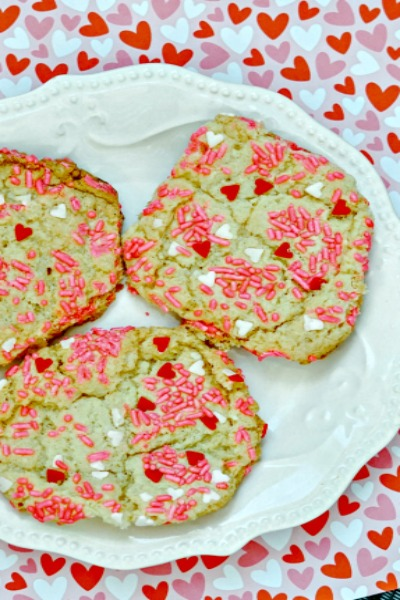 Valentine's Day Cake Mix Cookies