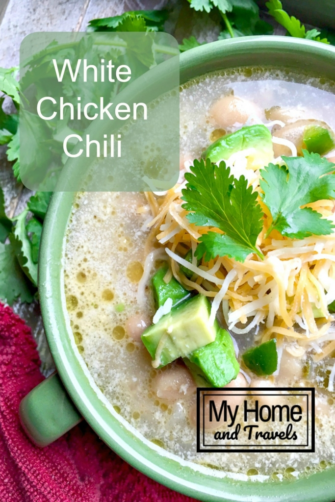 pinterest of warm bowl of white chicken chili my home and travels