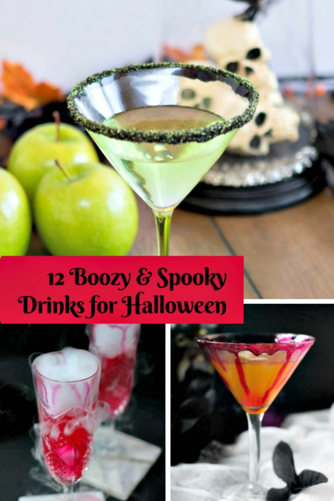 pinterest pic for 12 boozy halloween drinks my home and travels