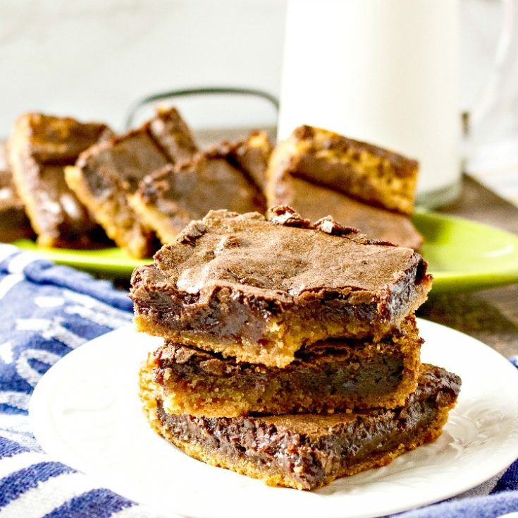 Fudgy Chocolate Peanut Butter Brownie You'll Love my home and travels stacked and ready to eat