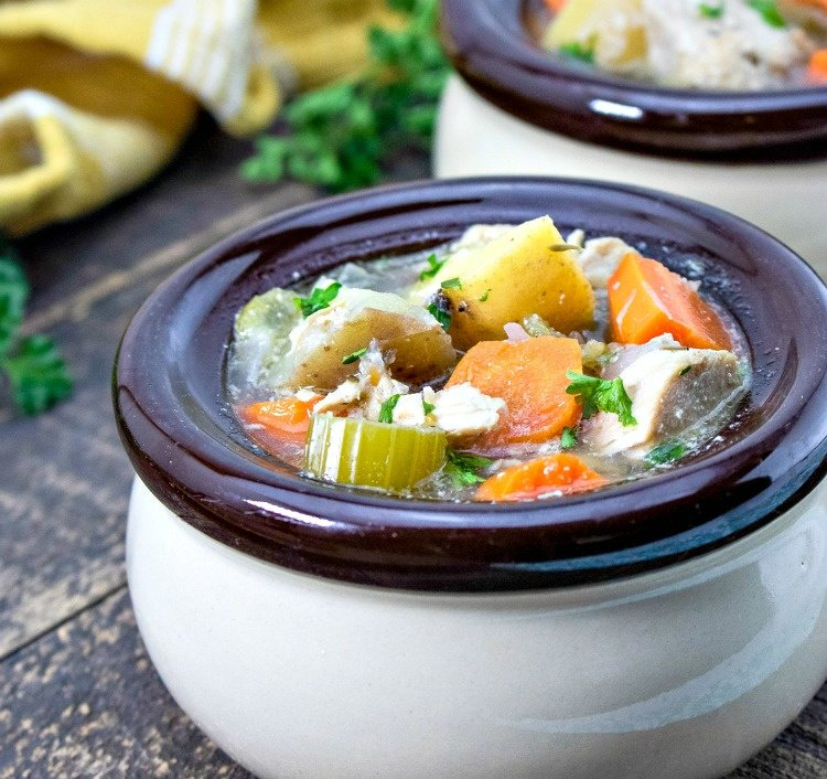 Slow-Cooker-Chicken-and-Vegetable-Stew-my-home-and-travels served in crock