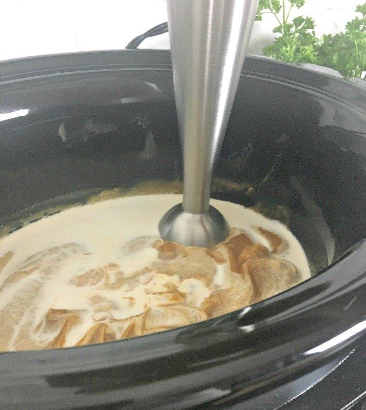 Slow Cooker Butternut Squash Soup immersion blender