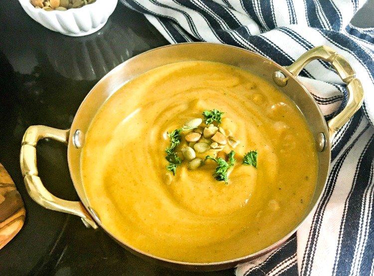 Slow Cooker Butternut Squash Soup serve up a bowl