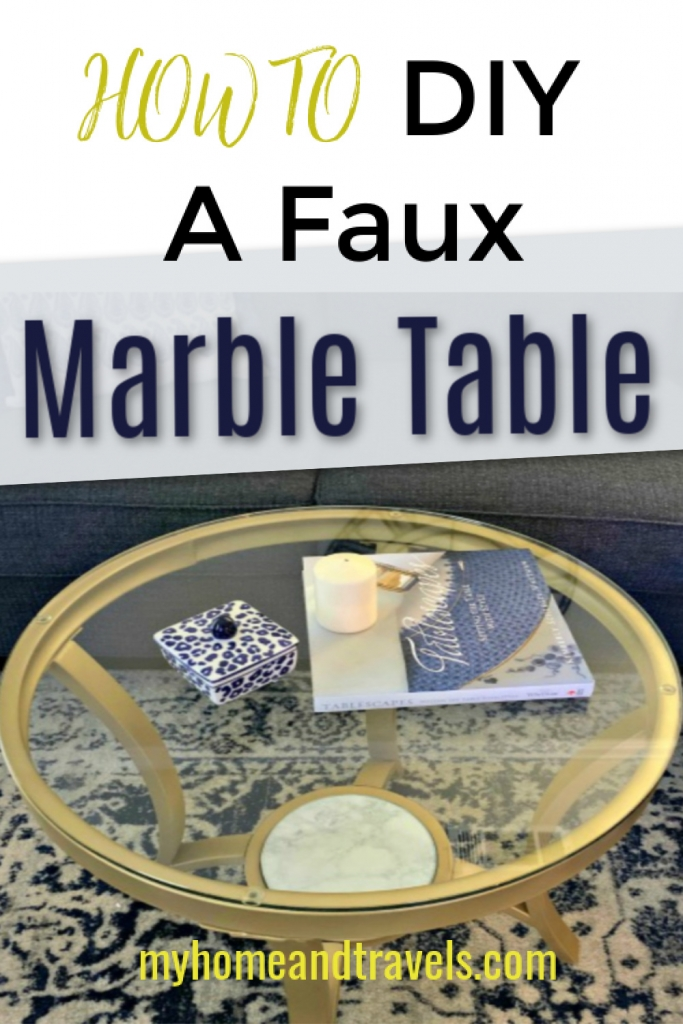 diy Coffee Table With faux marble Spray Paint pinterest image