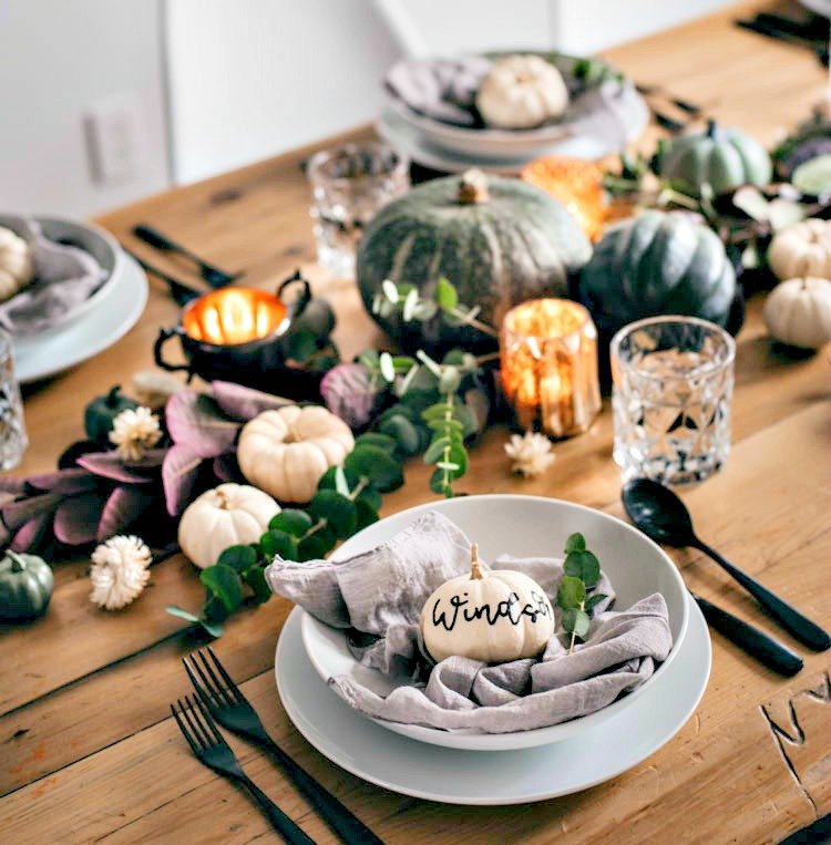 fall table decor my home and travels pumkins and candles