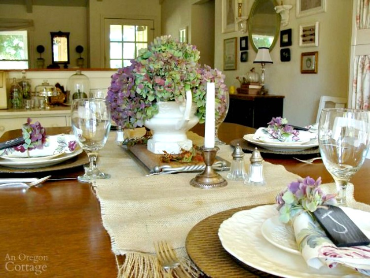 fall table decor my home and travels purple hydrangea