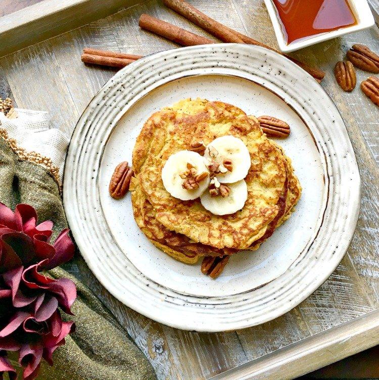 pumpkin spice pancakes plated