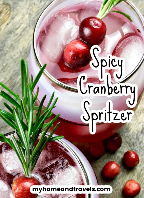 spicy infused cranberry spritzer pinterest image posted