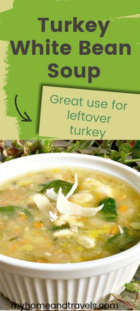 turkey white bean soup pinterest image