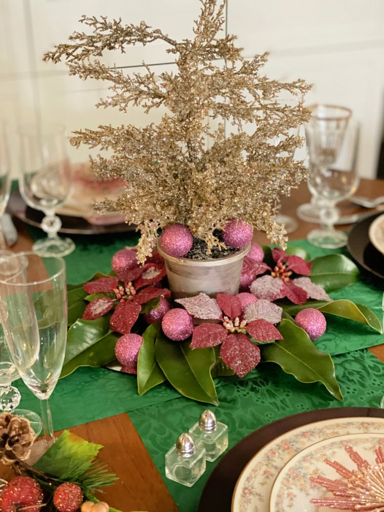 set a christmas table without christmas dishes my home and travels tree centerpiece