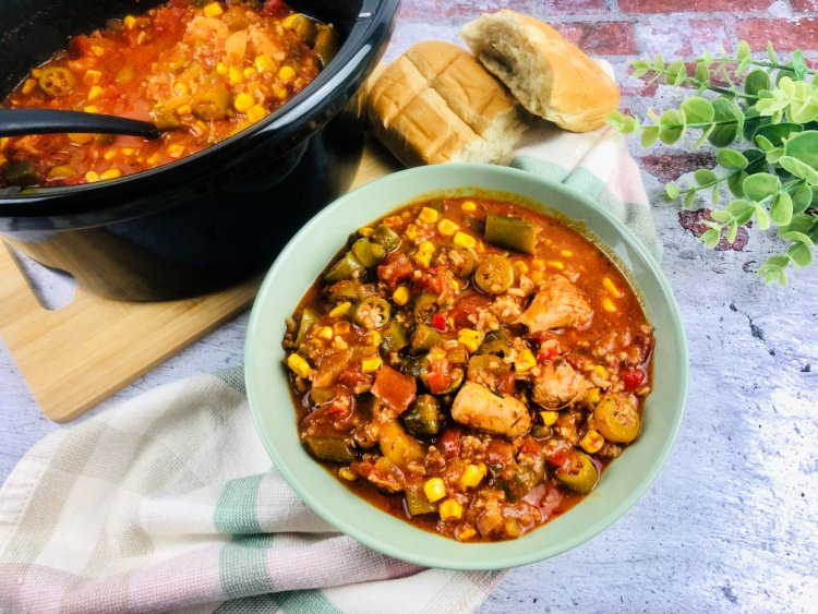 Slow Cooker Gumbo with Chicken and Chorizo my home and travels served in bowl