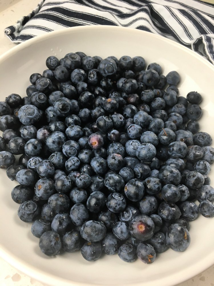 Simple Blueberry Crisp with Maple Syrup my home and travels image blueberries in bowl