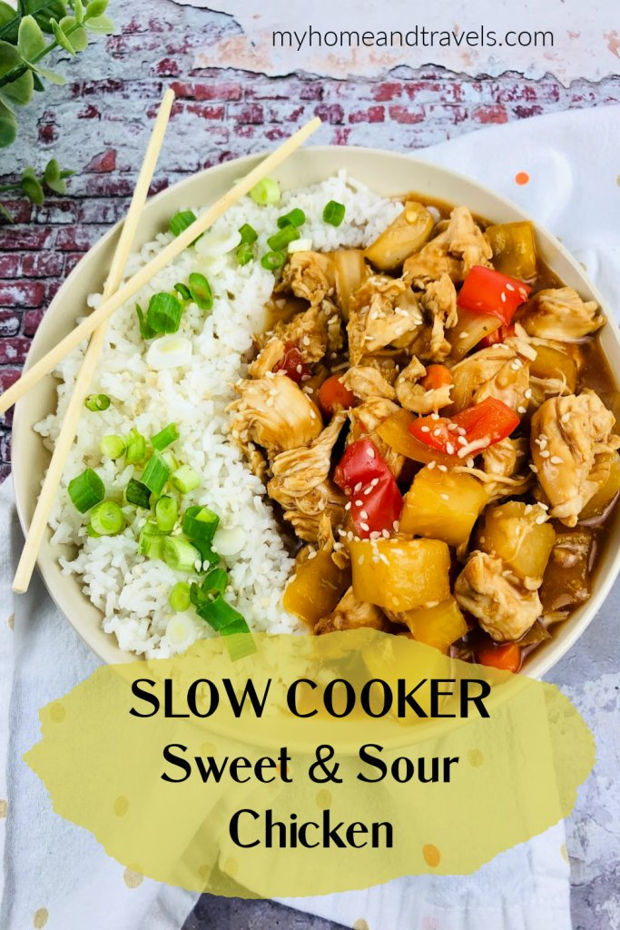 slow cooker sweet and sour chicken my home and travels pinterest image