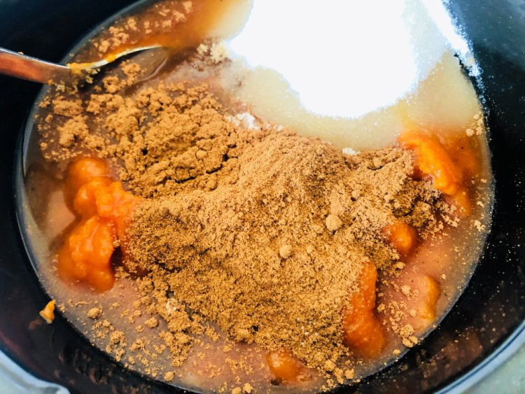 How To Make Pumpkin Butter in the Crockpot my home and travels ingredients in crockpot