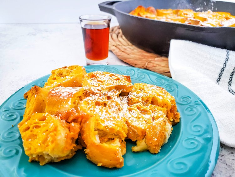 Baked Pumpkin French Toast In A Skillet ready to serve