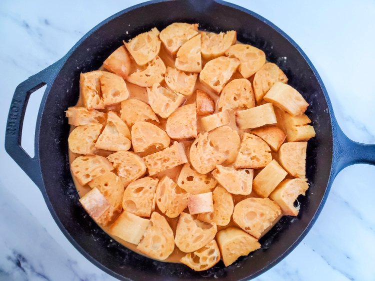 Baked Pumpkin French Toast In A Skillet ready to bake