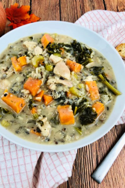 slow cooker chicken and wild rice soup my home and travels featured image