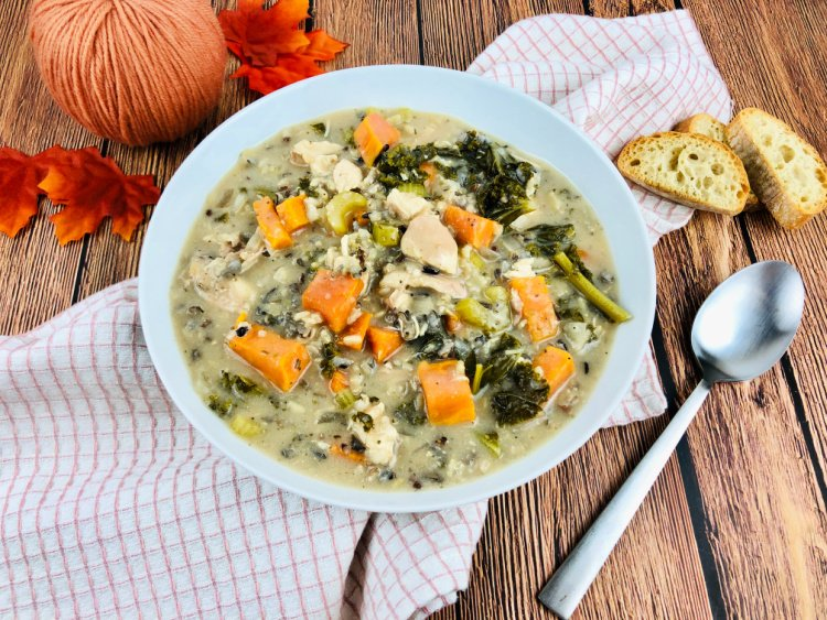 slow cooker chicken and wild rice soup my home and travels served in bowl